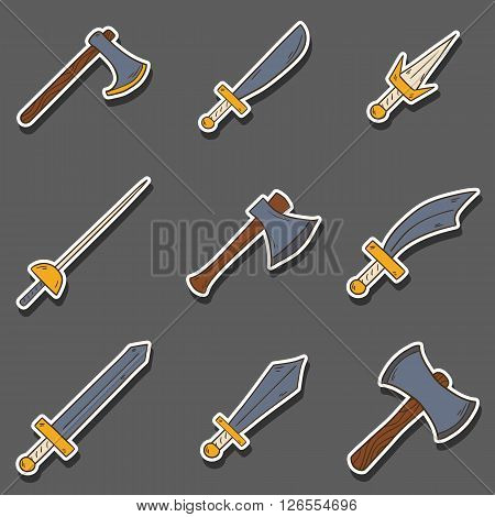 Vector hand drawn cartoon game weapon illustration. Historical steel arms. Warrior cartoon equipment. Vector blade sword axe weapon. Steel arms set. Hand drawn vector swords. Game weapon collection