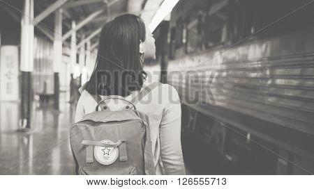 Backpacker Exploring Destination Casual Relax Concept
