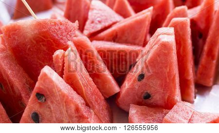 Slices of sweet  red watermelon/ fresh watermelon
