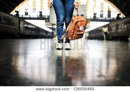 Backpacker Departure Wanderlust Travel Trip Concept
