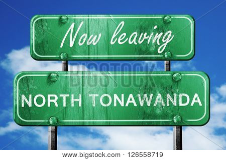 Now leaving north tonawada road sign with blue sky