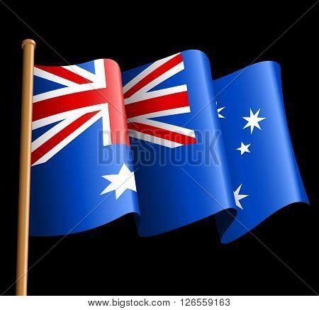 Australian flag illustration on a black background .