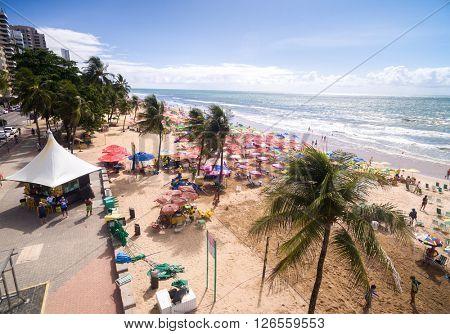 RECIFE, BRAZIL - CIRCA APRIL, 2016: Boa Viagem Beach, Recife, Brazil