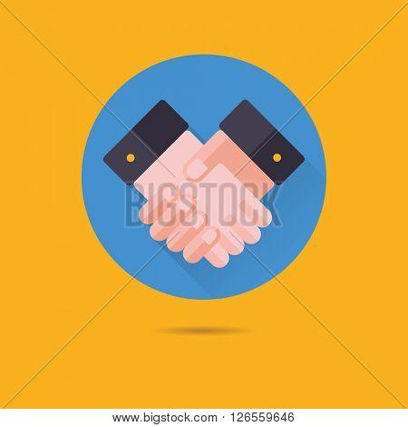 handshake flat design long shadow vector icon