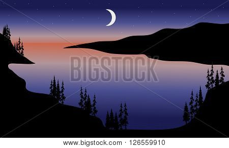 Lake at night scenery with moon a beautiful