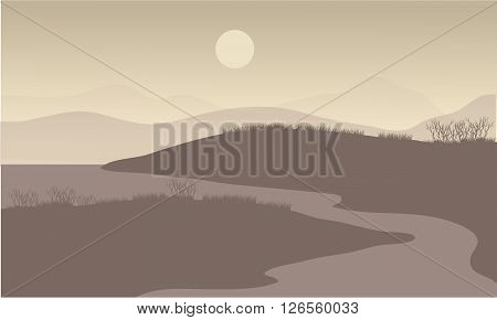River at night scenery with hill and grass