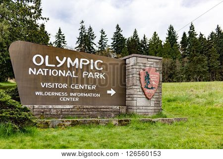Olympic National Park Sign in Washington State