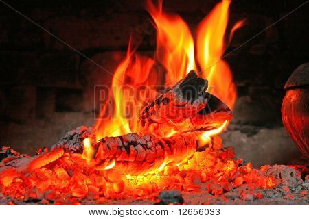 fire in a stove
