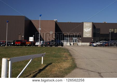 Smiths Falls ON/Canada: April 18 2016: The main entrance of the Tweed Marijuana Facility which produces and distributes legal weed products.