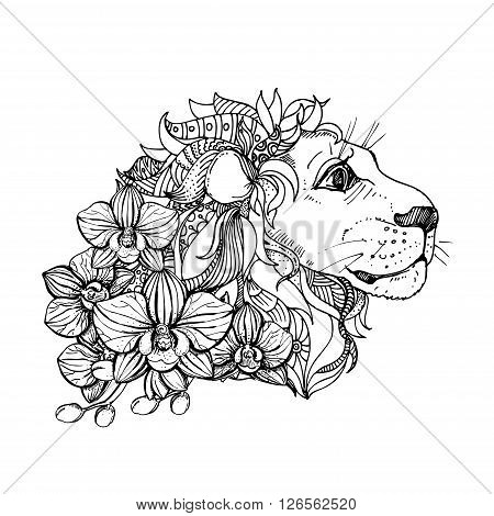 hand drawn ink doodle lion and orchid on white background. Coloring page - zendala, design for adults, poster, print, t-shirt, invitation, banners, flyers.