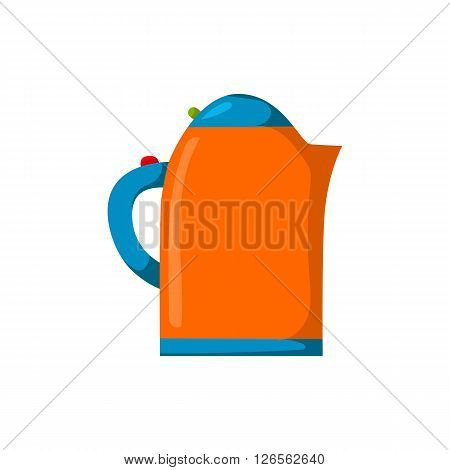 Vector isolated cartoon teapot on white background. Kitchen appliance cartoon. Vector illustration with kitchen kettle. Household appliances. Morning tea preparing. Kitchenware cartoon concept