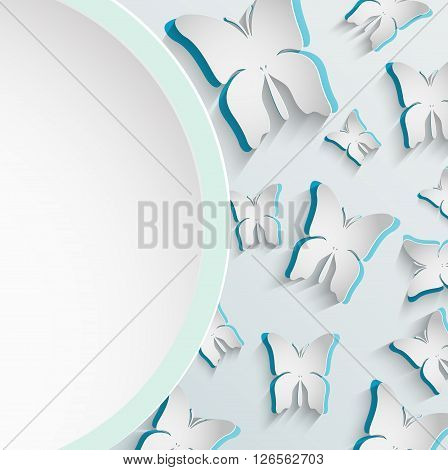 Illustration of Paper butterfly frame white background