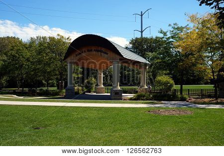 PLAINFIELD, ILLINOIS / UNITED STATES - SEPTEMBER 20, 2015: People may enjoy shows at the Richard A. Rock Amphitheater in Plainfield's Settlers' Park.