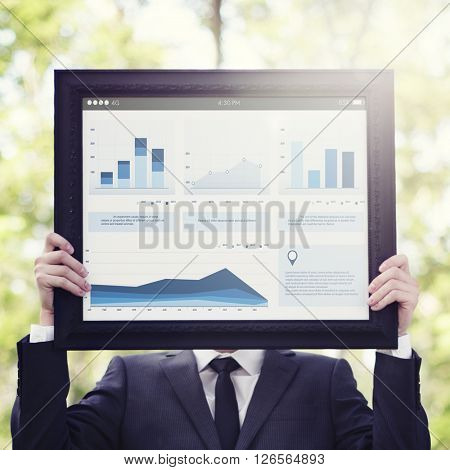 Business Businessman Holding Frame Outdoors Stats Concept