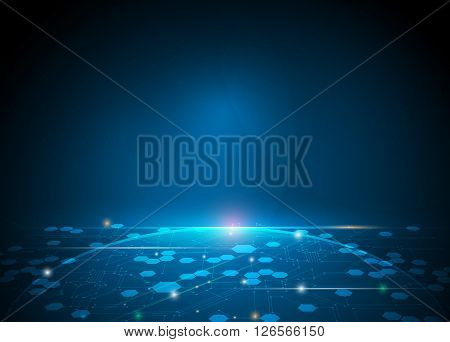 Vector illustration Abstract futuristic hexagons and circuit board high computer technology innovation communication concept. Dark blue color background