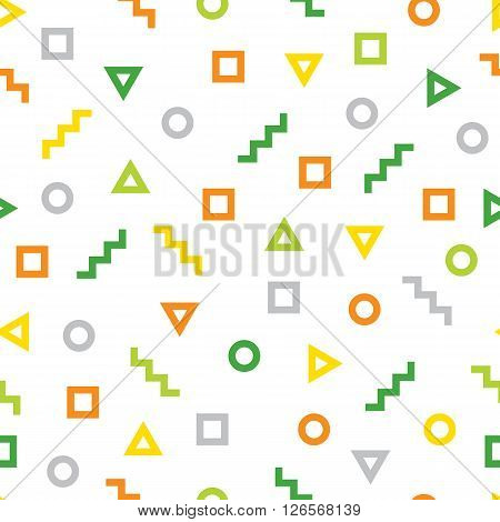 Geometric pattern consisting of different figures. Geometric figures - square triangle zig zag and circle. Colorful seamless background.