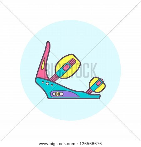Snowboard bindings. One of vector icon set.
