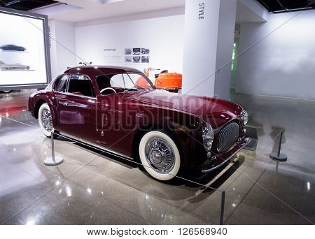 Los Angeles, CA, USA -- April 16, 2016: One of only 170 built, this 1947 Cisitalia 202 Coupe is now part of the Margie and Robert E. Petersen Collection at the Petersen Automotive Museum in Los Angeles, California, United States. ** Note: Visible grain a