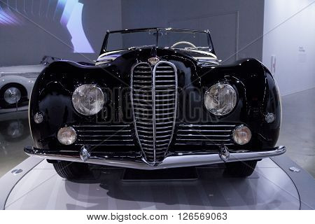 Los Angeles, CA, USA -- April 16, 2016: This 1953 Delahaye Type 178 by Chapron on display at the Petersen Automotive Museum in Los Angeles, California, United States.