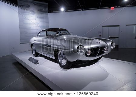Los Angeles, CA, USA -- April 16, 2016: Silver 1953 Fiat 8V Supersonic by Ghia from the collection of David and Ginny Sydorick at the Petersen Automotive Museum in Los Angeles, California, United States.