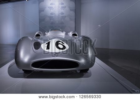 Los Angeles, CA, USA -- April 16, 2016: A 1954 Mercedes Benz W196 from the collection of the Indianapolis Motor Speedway Hall of Fame Museum at the Petersen Automotive Museum in Los Angeles, California, United States.