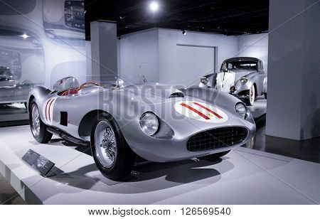 Los Angeles, CA, USA -- April 16, 2016: Silver and Red 1957 Ferrari 625/250 Testa Rossa by Scaglietti from the Collection of Bruce Meyer at the Petersen Automotive Museum in Los Angeles, California, United States.
