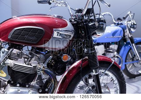 Los Angeles, CA, USA -- April 16, 2016: 1970 Triumph Bonneville T120RT motorcycle from the collection of Richard Varner at the Petersen Automotive Museum in Los Angeles, California, United States.