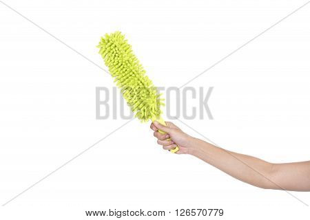 woman with duster cleaning on white background