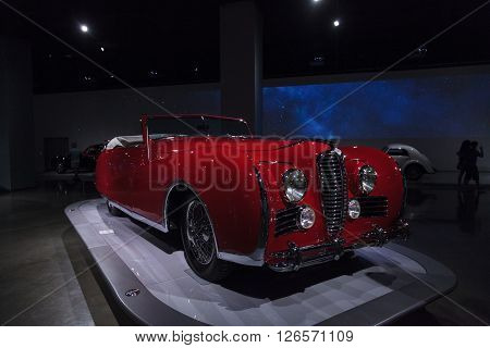 Los Angeles, CA, USA -- April 16, 2016: 1949 Delahaye Type 175 Drophead Coupe at the Petersen Automotive Museum in Los Angeles, California, United States.