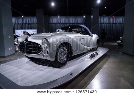 Los Angeles, CA, USA -- April 16, 2016: 1951 Delahaye Type 235 Cabriolet by Saoutchik from the collection of Merle and Peter Mullin at the Petersen Automotive Museum in Los Angeles, California, United States.