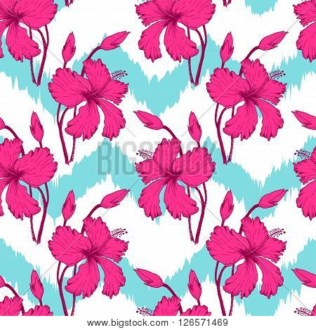 Vector Illustration of tropical Flowers Seamless PAttern in Sketch Style for Design, Flowers Sketch Background, Banner. Doodle Summer Pattern. Flower sketch Element. Flower Pattern Template.  Beach Botany