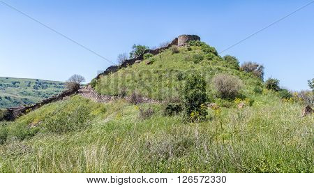 Archaeological site of ancient Jewish city of Gamla on the hill in Israel