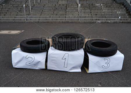 Improvised sports podium made of car tires, Warsaw, Poland