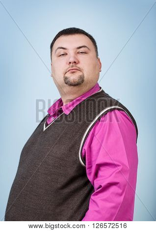 Businessman with overweight smiling on the blue background