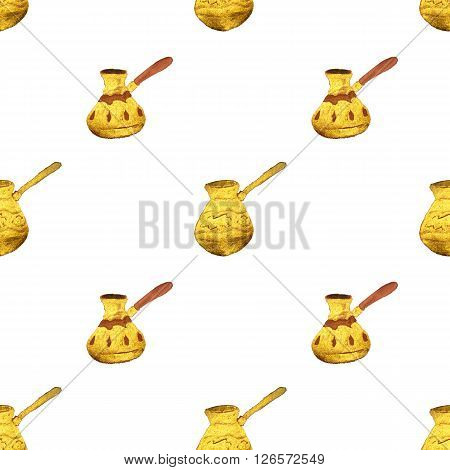 Pearl gold Turkish coffee pots on white