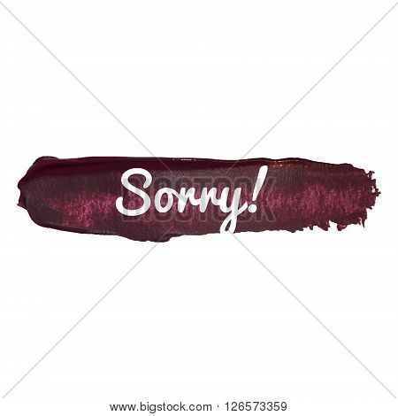 Sorry Vector Word Hand Drawn Illustration Icon Card Isolated Quote