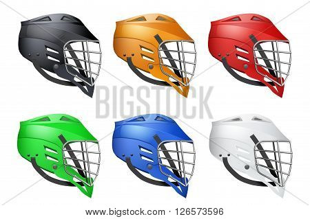 Set of Lacrosse Helmets Side View Sports isolated on white background