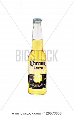 SYDNEY AUSTRALIA -August 16, 2016: A Corona Extra Beer on white background with clipping path. Corona is the most popular beer in Australia