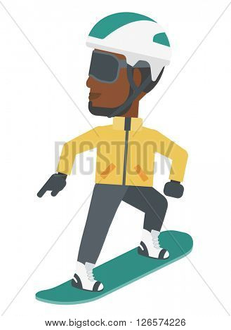 Young man snowboarding.