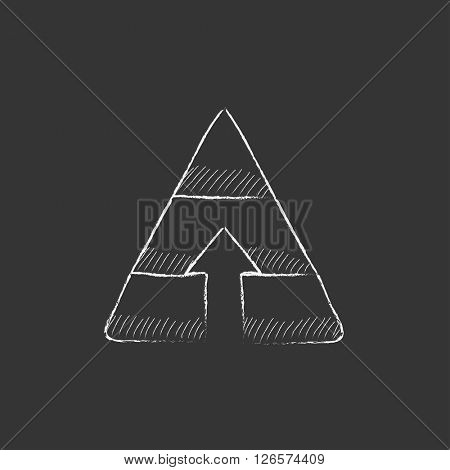 Pyramid with arrow up. Drawn in chalk icon.