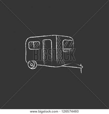 Caravan. Drawn in chalk icon.