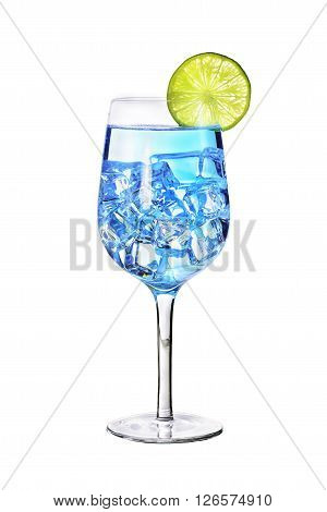 Blue alcoholic drink with glass on white background with clipping path