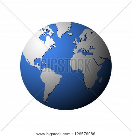 Vector globe isolated on white. Vector Earth globe with white continets. Atlantic ocean on globe.