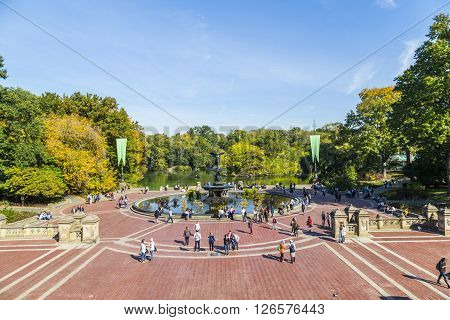 People Have A Rest In Central Park, New York