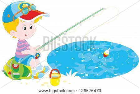 Vector illustration of a little boy sitting on his backpack and fishing in a small pond
