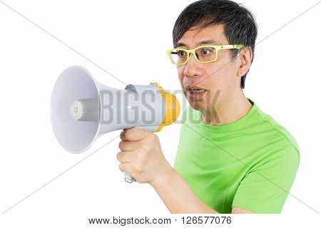 Asian Chinese Man Holding A Megaphone