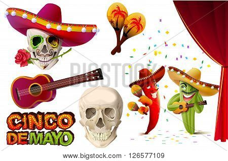 Set Cinco de Mayo. Mexican skull in sombrero holding rose teeth. Lettering text for greeting card. Isolated on white vector illustration