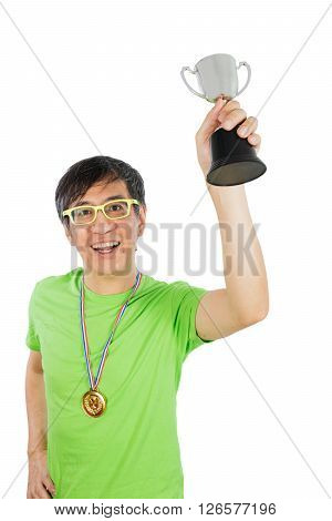 Asian Chinese Man With Gold Medal And Trophy