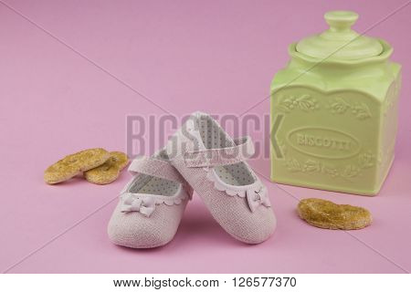 portrait in provencal style of a pair of little girl shoes