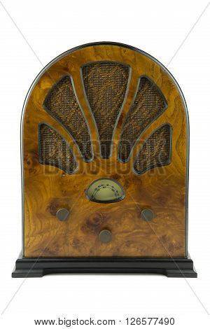 portrait of a old style wooden radio